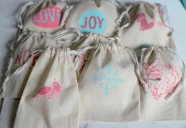 canvas bags for advent calendar with drawstring