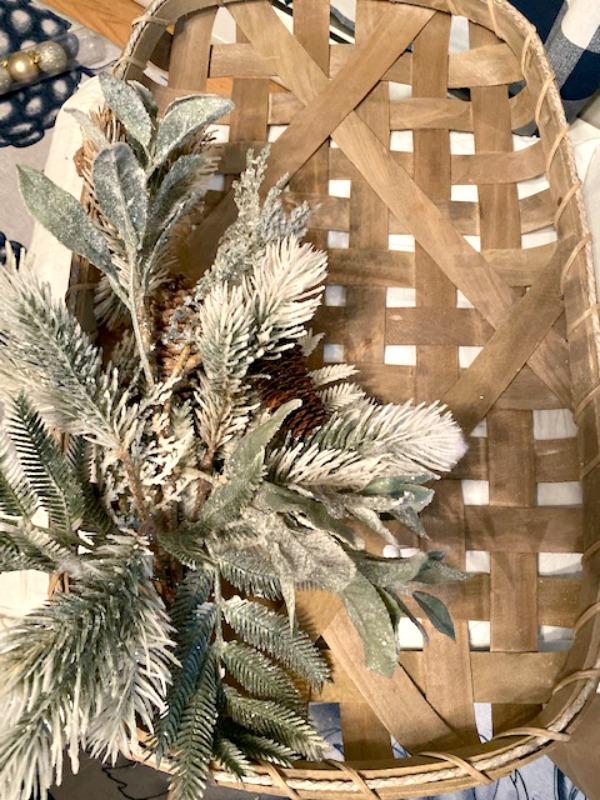 christmas stems on tobacco basket