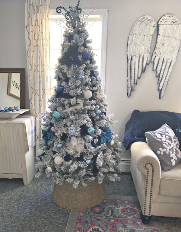 Blue And Silver Christmas Decorations.Elegant Flocked Christmas Tree With Blue And Silver Decorations
