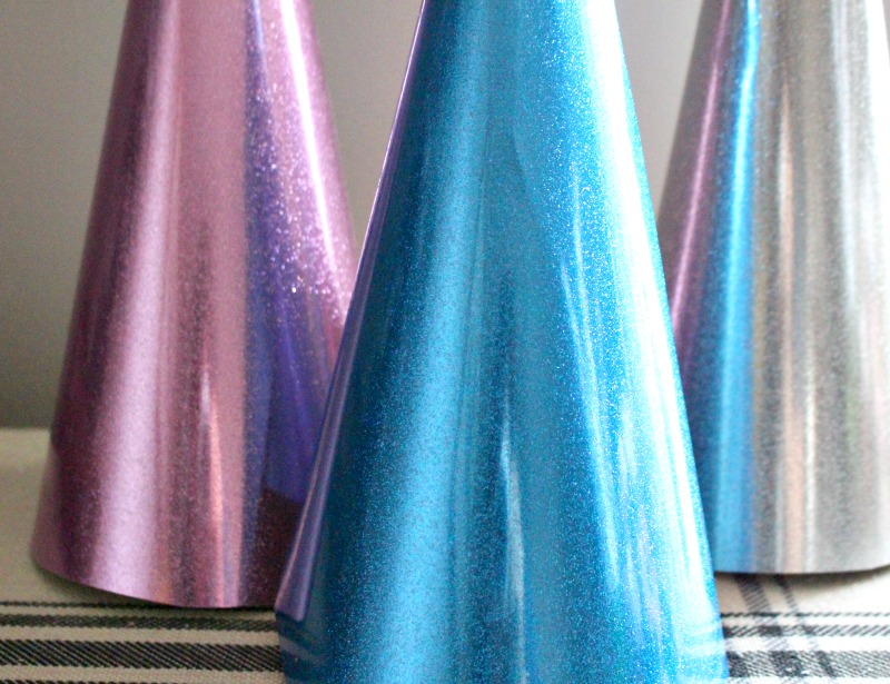 close up of glitter cones