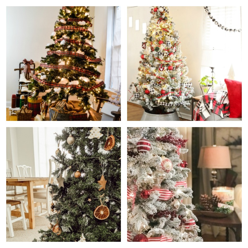 collage of 4 christmas trees