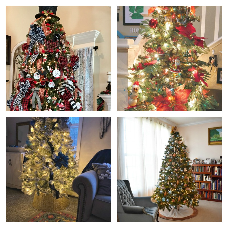 collage of finished christmas trees