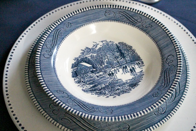 currier & ives place setting for tha