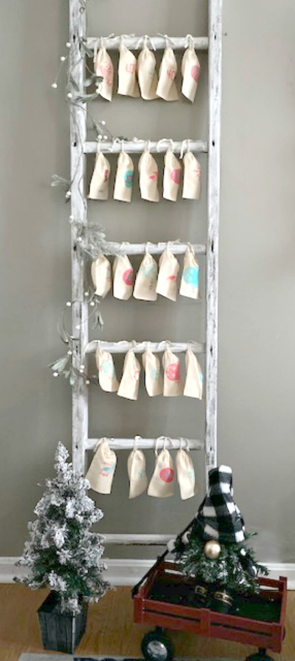 full size ladder with canvas bags for christmas advent calendar