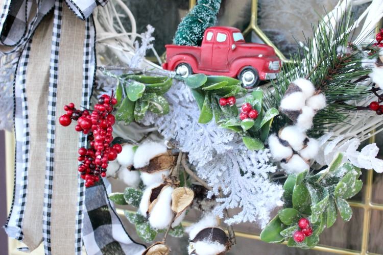 grapevine wreath with cotton stems and little red truck