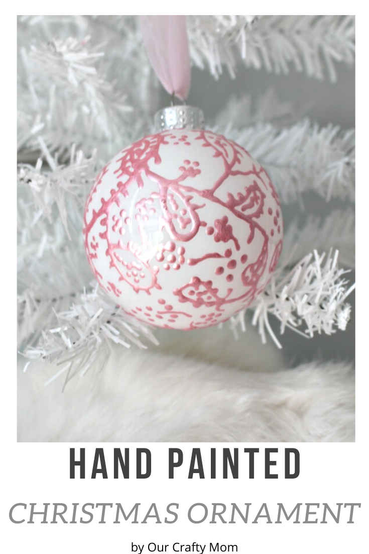 hand painted christmas ornament pin image