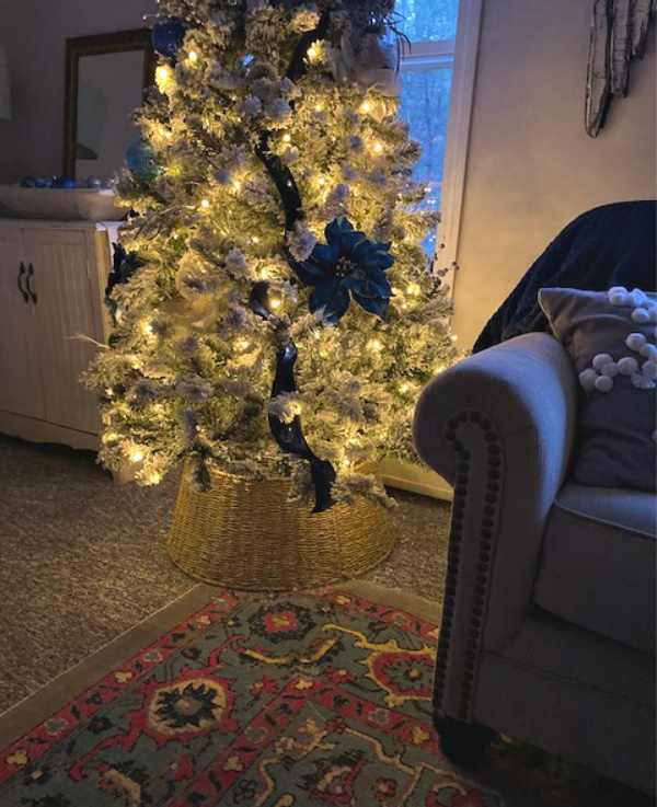 navy velvet flocked christmas tree