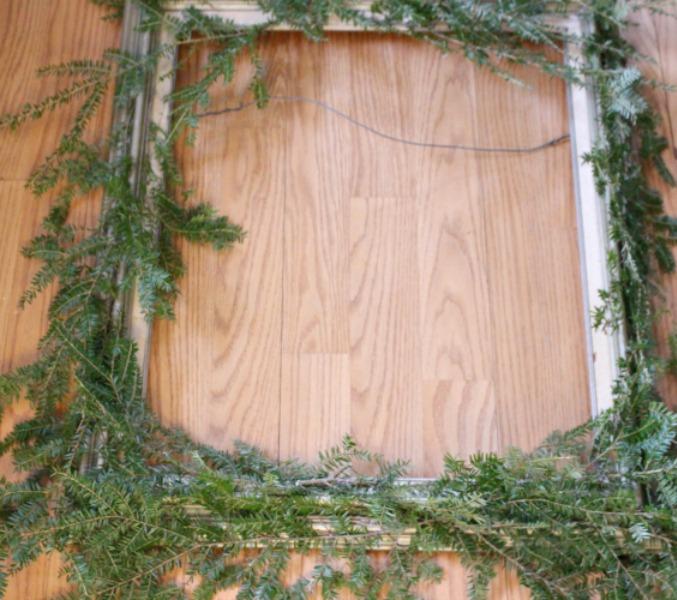 pine stems on thrift store frame
