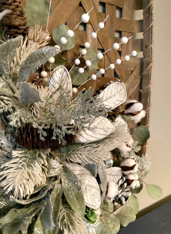 side view of tobacco basket wreath