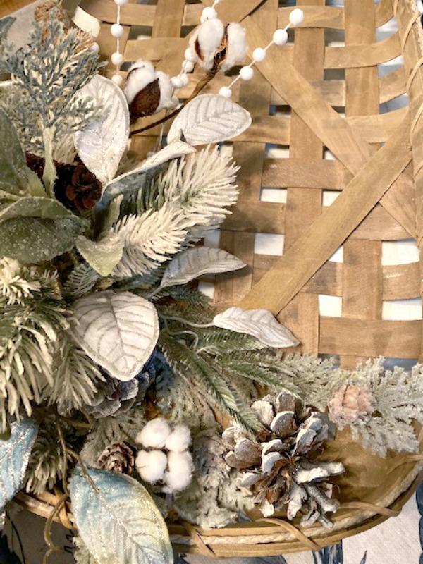stems on tobacco basket wreath