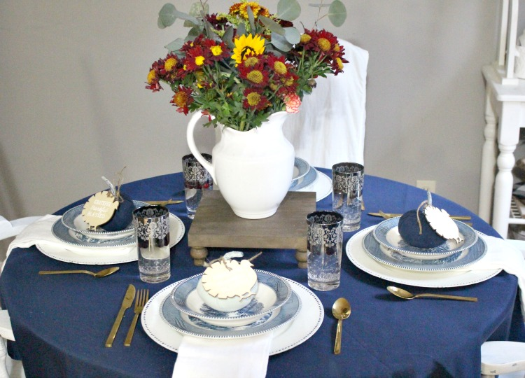 thanksgiving tablescape with thrift store finds