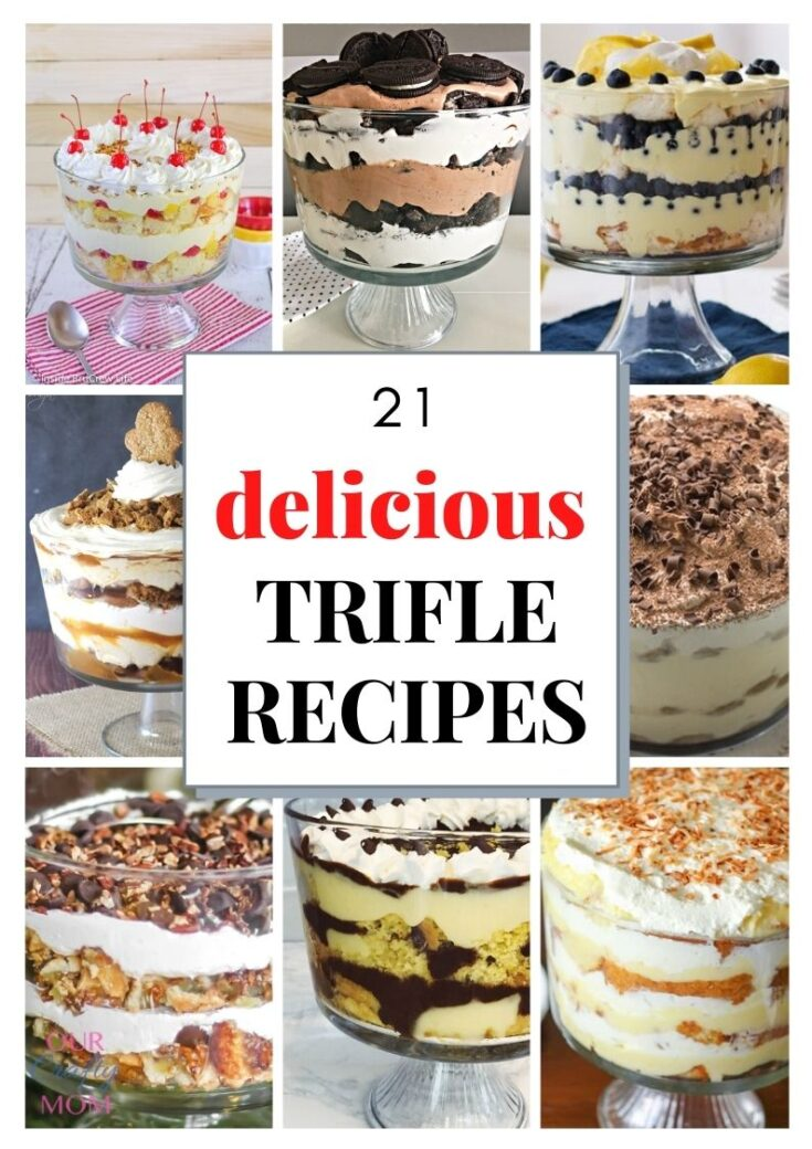 collage of 9 trifles with text overlay
