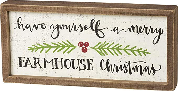 Primitives by Kathy Inset Box Sign, Merry Farmhouse Christmas