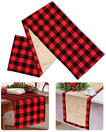Christmas Table Runner Red Black Cotton Buffalo Check Plaid and Burlap Double Sided Table Runner