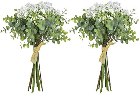 Artificial Baby Breath Flowers in Bulk Pack of 2 Artificial Gypsophila Floral with Silver Dollar Eucalyptus Leaves
