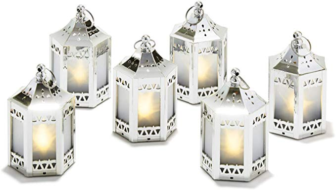 Silver Mini Lanterns with Holographic Star Lights - Set of 6