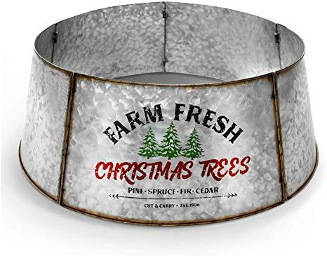Hallops Galvanized Tree Collar - Large to Small Christmas Tree
