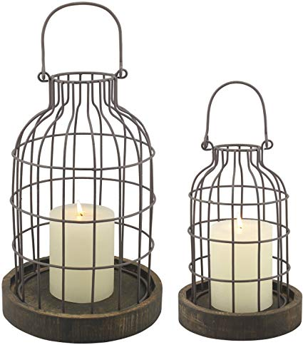 Rustic Metal Wire Cage Cloche Set with Rustic Wooden Bases,
