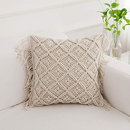 Cotton Rope Handmade Pillow Cover 18 Inch Square Macrame Cushion Cover Bohemian Farmhouse Style