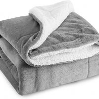 BEDSURE Sherpa Fleece Blanket Throw Size Grey Plush Throw Blanket