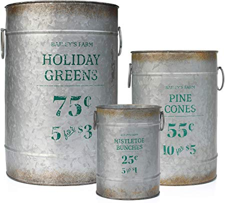 Metal Farmhouse Decor Galvanized Cans with Holiday Pine Motif for Flower Arrangements