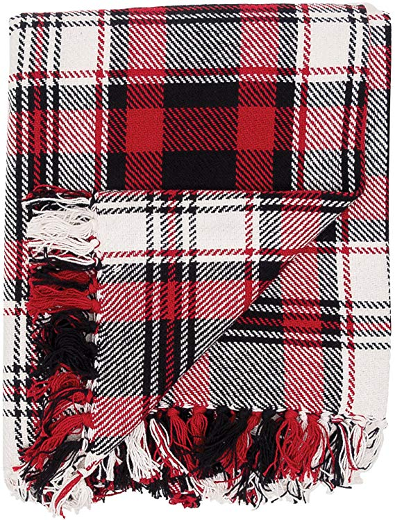 Cotton Woven Red and Black Christmas Holiday Winter Lodge Cabin Everyday Woven Plaid Throw