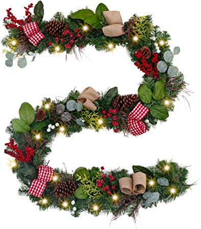 Pre-Lit 9 Feet Farmhouse Christmas Garland with Ball Ornaments Decorations