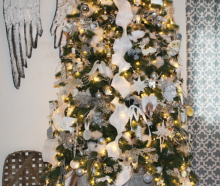 silver and white farmhouse style tree