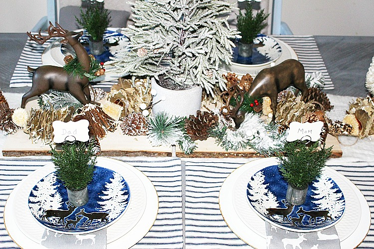 woodland themed winter tablescape