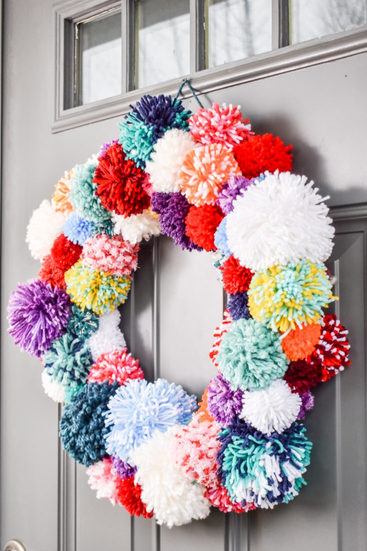 Make a Colorful Pompom Wreath!