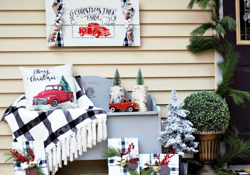 front porch little red truck christmas decor