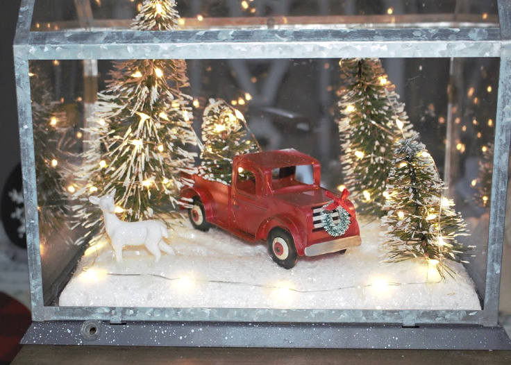 little red truck light up house