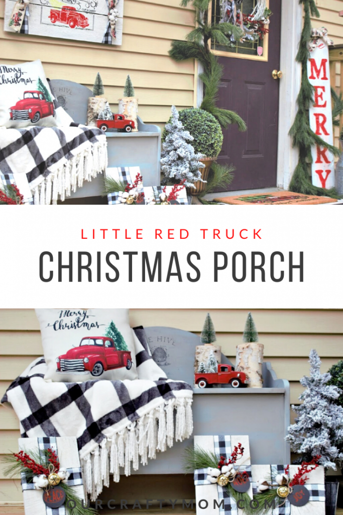 little red truck christmas front porch