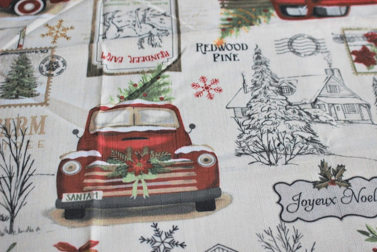 red truck tablecloth