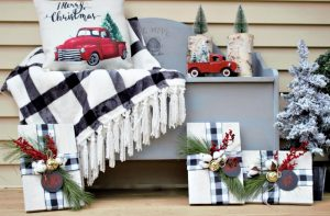 red truck theme christmas porch