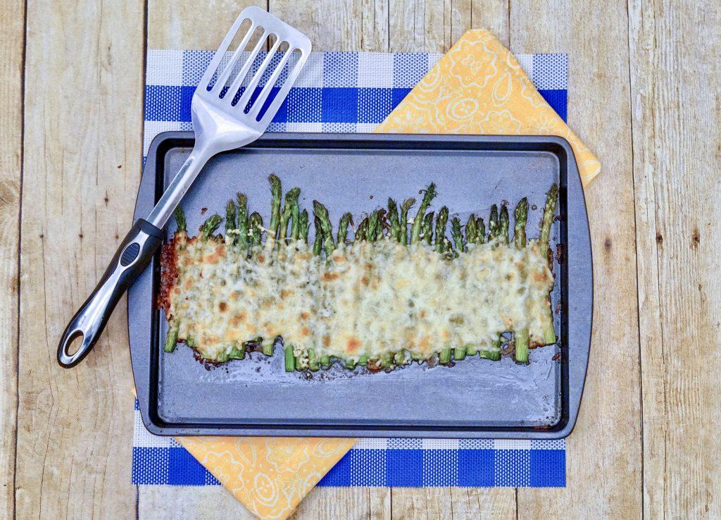 cheesy asparagus on sheet pan