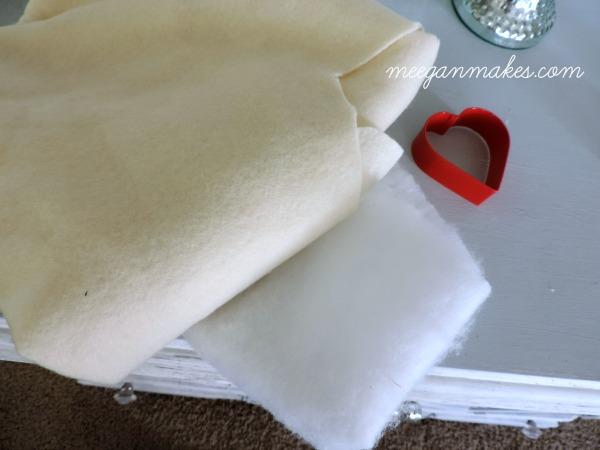 No Sew Drop Cloth Heart Pillow