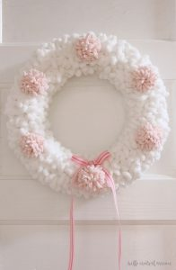 Yarn-and-Pom-Pom-Wreath-for-Valentines-Day