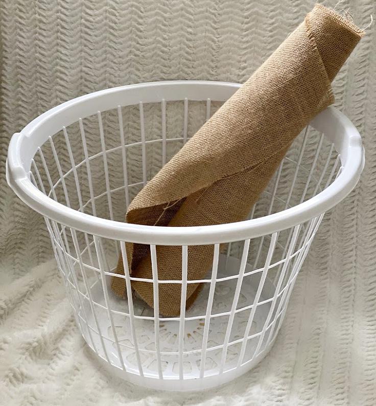 dollar store basket with burlap