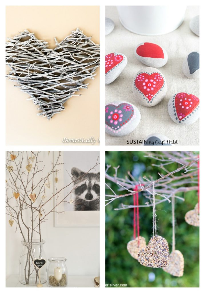 collage of 4 natural crafts for valentine's day