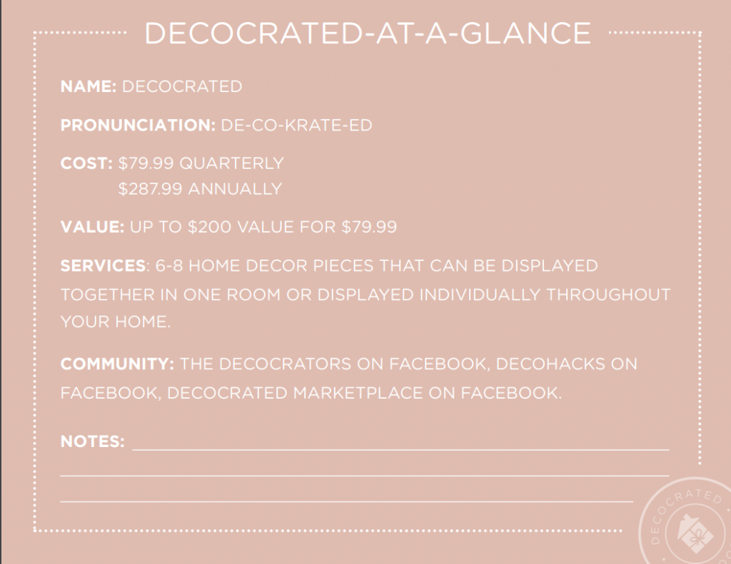 decocrated specifics