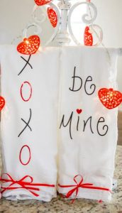 valentine's day tea towels