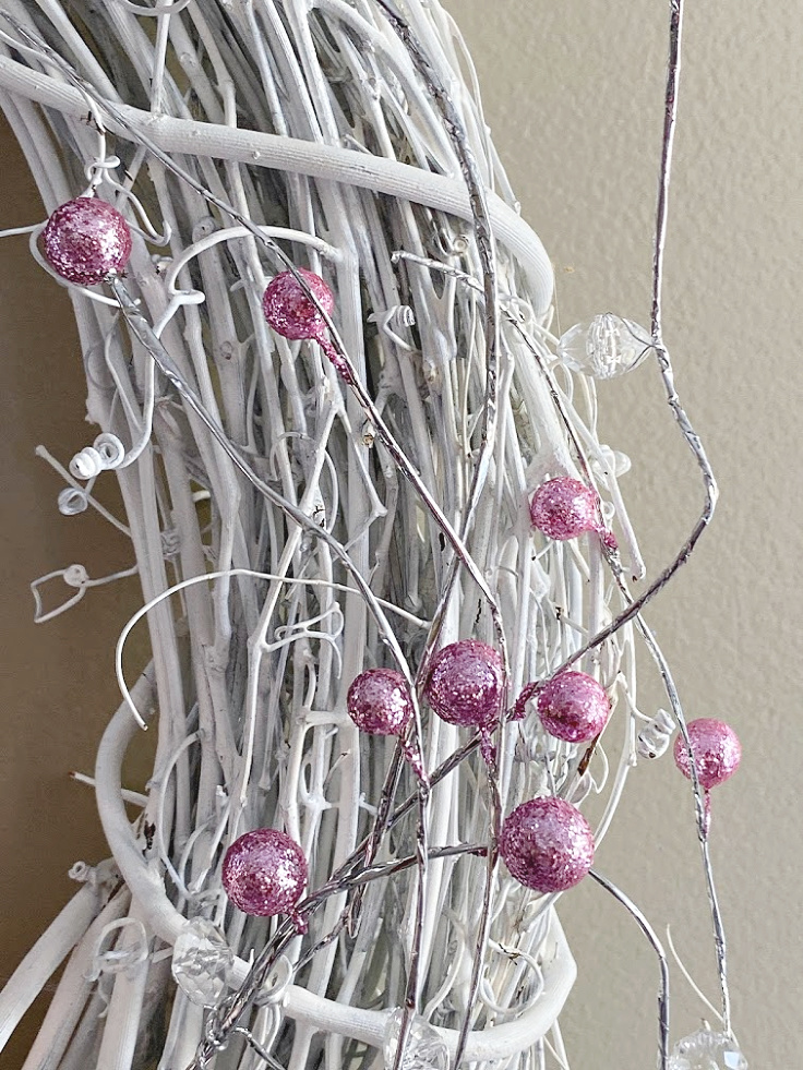 pink beads on gnome wreath