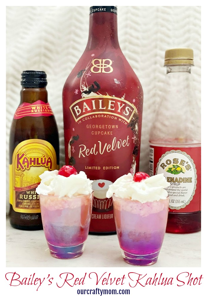 red velvet bailey's kahlua shot