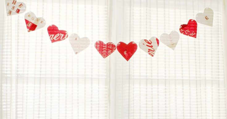 Upcycled Shopping Bag Heart Banner