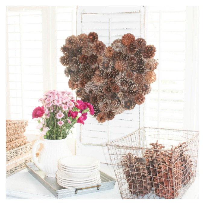 Create a Lovable Valentine Wreath With Pinecones.