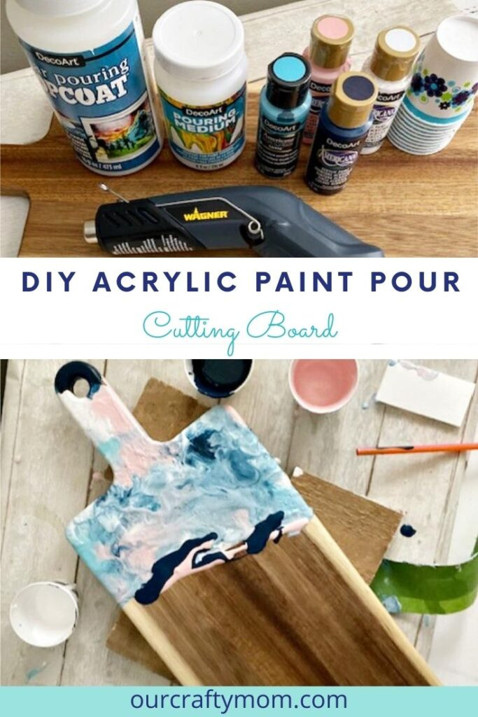 diy acrylic paint pour cutting board