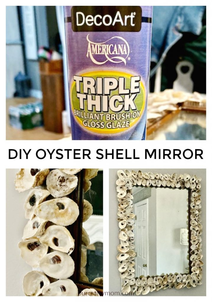 oyster shell mirror with triple thick gloss glaze