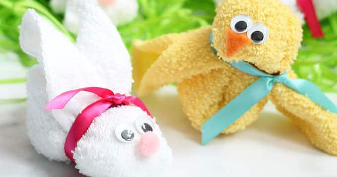 Washcloth Bunny and Chick
