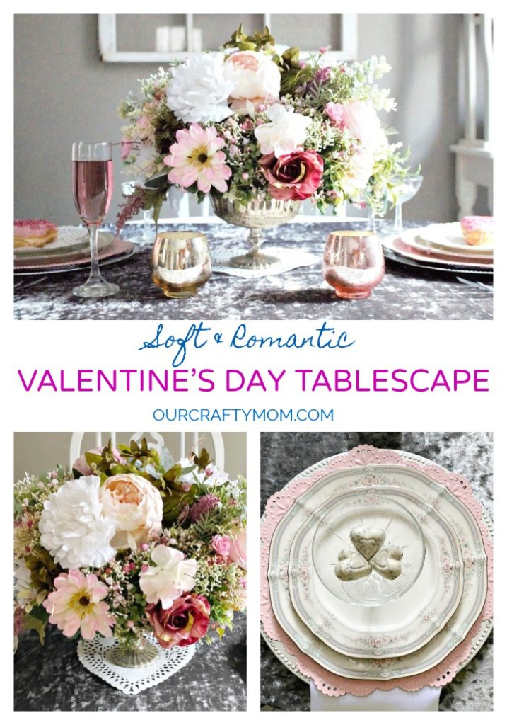 valentine's day tablescape pink and gray